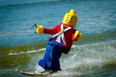 Lego man waterskiing